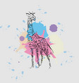 calligraphic ink silhouette of a giraffe on the vector image