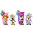 cartoon clown with balloon character set vector image vector image