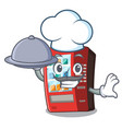 chef with food vending machine next to character vector image vector image