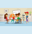 children in school classroom vector image vector image