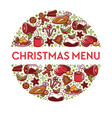 christmas menu banner with dishes in circle vector image vector image