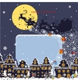 Christmas square cardSanta Claus coming to City vector image vector image