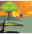 couple in lake fishing crocodile and snake around vector image vector image