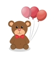 cute bear with balloons party baby icon vector image