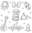 doodle musical instrument theme art vector image