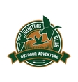 Duck hunting retro badge for hunters club design vector image