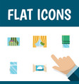 flat icon window set of cloud curtain balcony vector image vector image