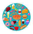 food on blue background vector image