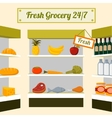 Fresh grocery foods on store shelves vector image