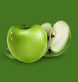 green apples on a green background vector image vector image
