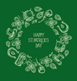 green st patricks day round template vector image vector image