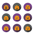 Halloween pumpkins flat circle icons set vector image