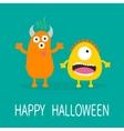 Happy Halloween greeting card Yellow and orange vector image vector image