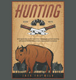hunting sport vintage banner with bison animal vector image
