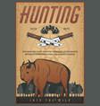 hunting sport vintage banner with bison animal vector image vector image