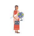 indian woman geography teacher holding clipboard vector image vector image
