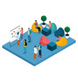 isometric coworking center creative freelancers vector image