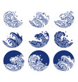 japan water and ocean wave line logo vector image vector image