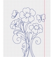 Kidstyle flower sketch on the paper sheet vector image vector image
