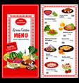 korean cuisine menu and prices asian food poster vector image vector image
