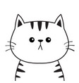 linear cat sad head face silhouette contour line vector image vector image