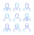 medical doctors and patients thin line avatars vector image