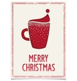 New Year poster with red coffee cup vector image vector image