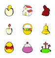 painting eggs icons set cartoon style vector image