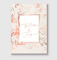 rose gold marble invitation template realistic vector image vector image