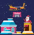 santa claus in chimney with house in snowscape vector image