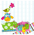 scrapbook animals card template vector image