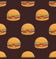 seamless pattern with appetizing hamburgers on vector image vector image