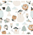 seamless pattern with happy cartoon animals vector image