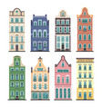 set of 8 amsterdam old houses cartoon facades vector image vector image