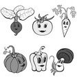 set of cartoon funny vegetables gray vector image