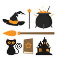 set of witch icons in flat style isolated on vector image