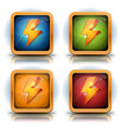 shield icons with lightning bolts for game ui vector image vector image