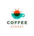 sunset coffee overlap overlay logo icon vector image