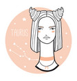 taurus girl sketch style woman with zodiac vector image vector image