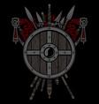 viking design shield and swords set vector image