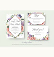 wedding floral invitation rsvp thank you card vector image vector image
