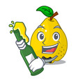 with beer sweet quince isolated on mascot cartoon vector image