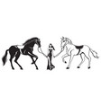 woman in evening dress leads two racing horses vector image vector image
