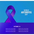world arthritis day vector image vector image