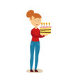 flat girl holding big birthday cake vector image