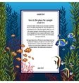 Marine life in bright colors and vertical card vector image
