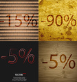 90 5 icon Set of percent discount on abstract vector image