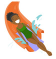 african-american woman having fun in waterpark vector image vector image