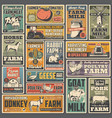agriculture and farm retro posters vector image vector image