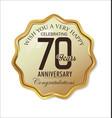 anniversary retro label 70 years vector image vector image